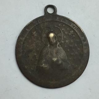 Medalla Antigua Religiosa Cristo Corazon Y Virgen Cobre