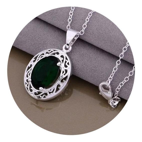Collar Para Mujer Esmeralda Cultivada + Cadena Plata 925