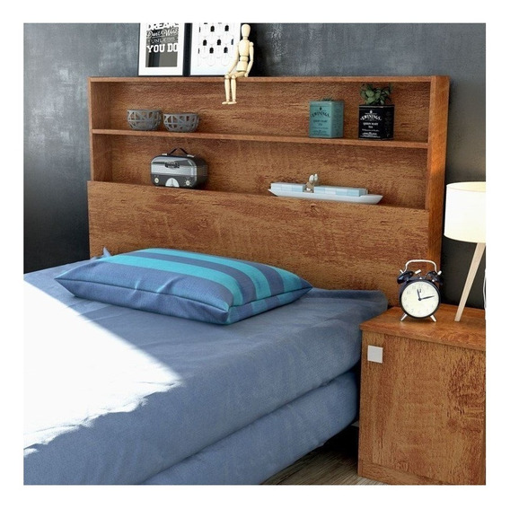 Cabeceira de cama Lukaliam Móveis Luka Solteiro 164cm x 114cm amêndoa