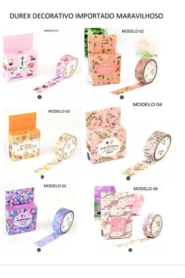 Washi Tape 10 Unid Fita Adesiva Decorada Importada Original