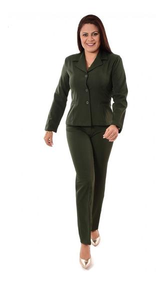 Terno Feminino Blazer Sem Forro E Calça - Verde E Colorido