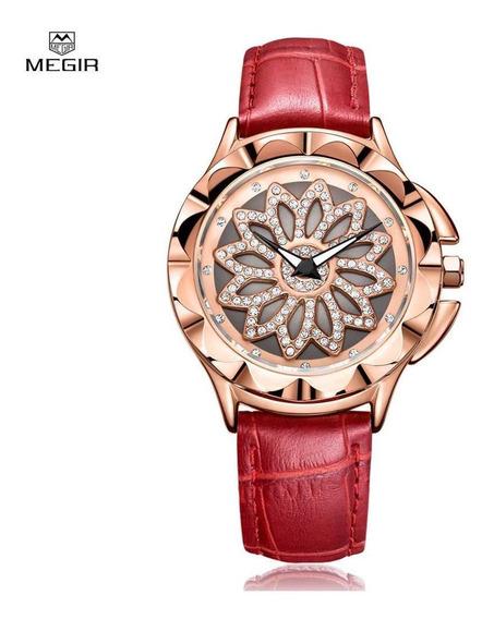 Relógio Feminino Megir Flores Com Ponteiros Luminosos Pulsei