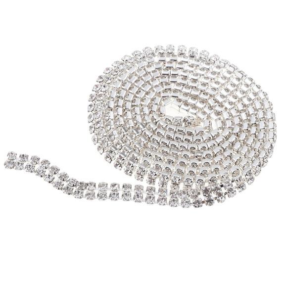 2-fileira De Cristal Imitação De Diamante Perto Cadeia Diy D