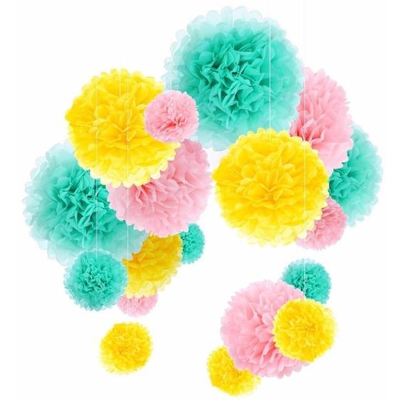 24 Pompom Decorativos / Eventos / Mesas De Dulce/ Candy Bar