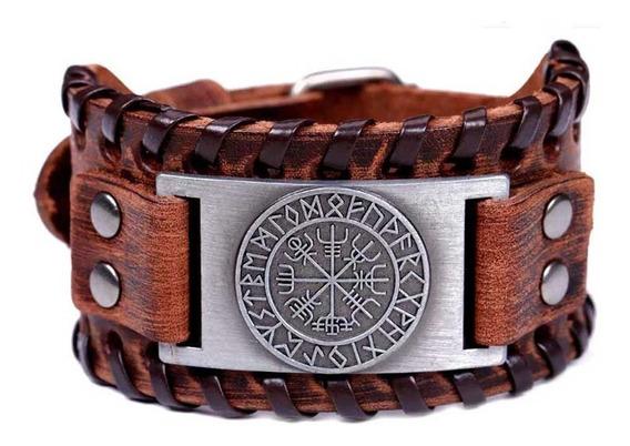 Bracelete Couro Viking Vegvisir Pulseira Runas Tribal Punk