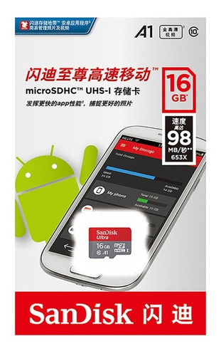 Memoria Micro Sd Sandisk 16gb Clas 10 Original