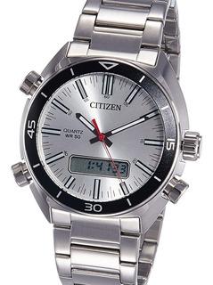 Reloj Citizen Jm546051 100% Acero Alarma 50m Crono Watch Fan
