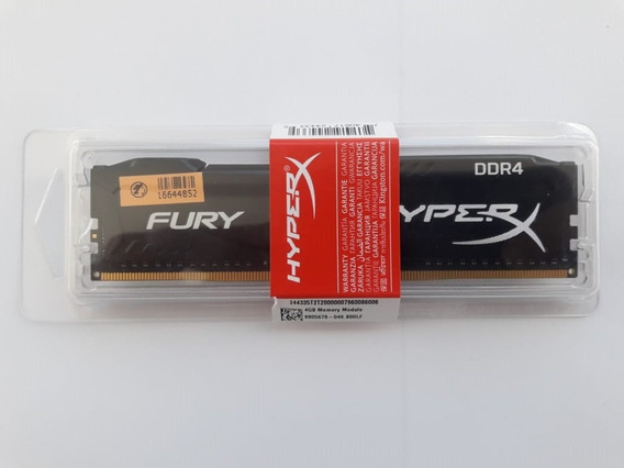 Memoria 4gb Ddr4 2400 Hyper-x Fury Black - Hx424c15fb/4