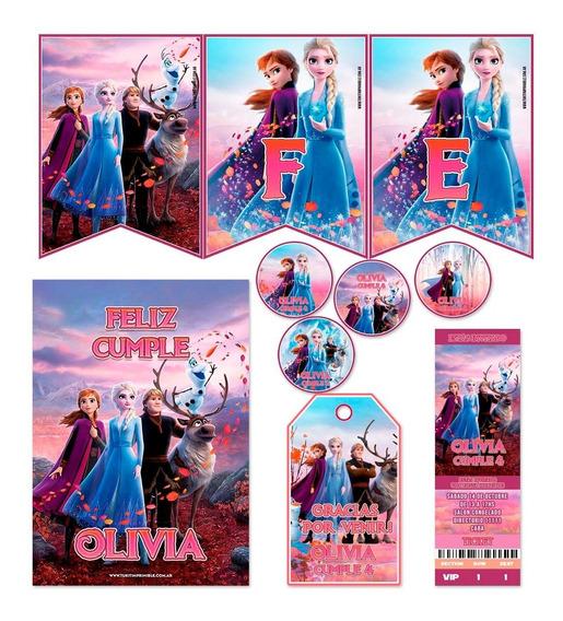 Kit Frozen 2 Banderín Stickers Tarjetas Impreso