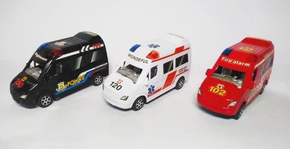 Lote Resgate Siate Samu Polícia 3 Vans Miniatura Brinquedo