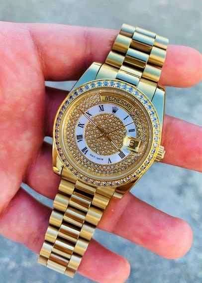 Reloj Day Date 36 Mm Con Piedras Cristal Zafiro Aut C/ Caja