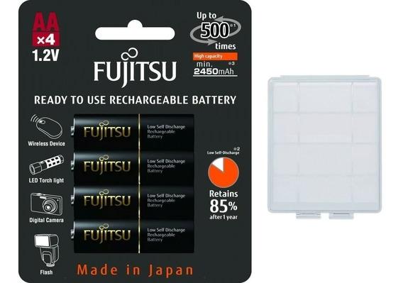 4 Pilhas Aa Recarregáveis 500x Fujitsu Eneloop Pro 2550mah