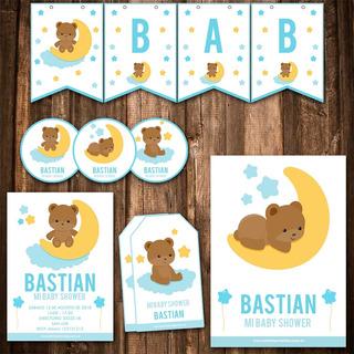 Kit Baby Shower Invitaciones, Stickers, Banderín Impreso!