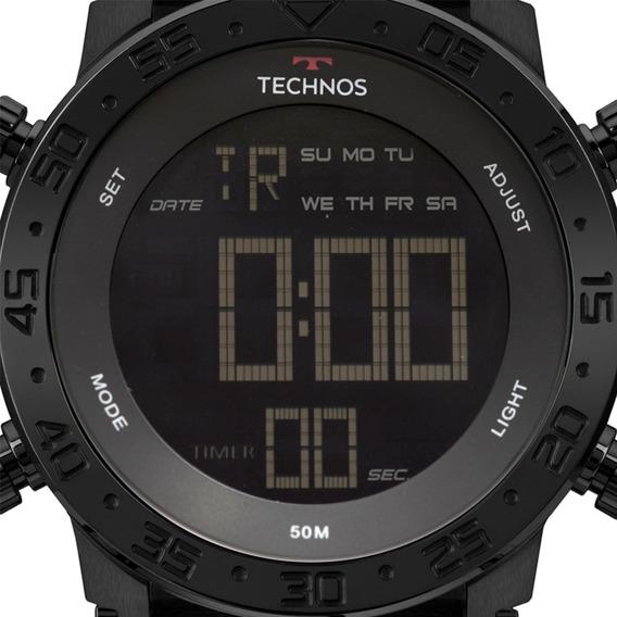 Relógio Masculino Digital Preto Silicone Aço Bjk006aa/4p Nf