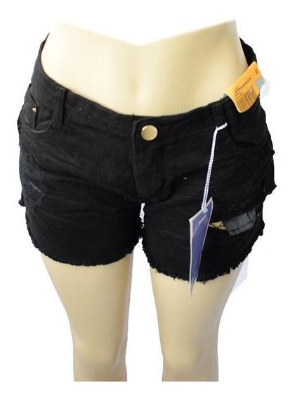Shorts Feminino Sawary Preto Rasgado 100% Algodão - 256931