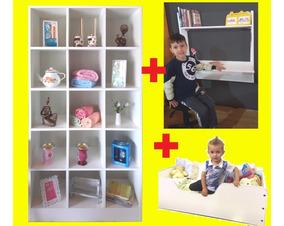 Cama Infantil + Armário Brinquedos + Mesa Estudos = Só Hoje