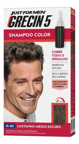 Grecin 5 Shampoo Tonalizante Castanho Médio Escuro H-40 60ml
