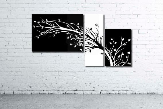 Cuadro Triptico Moderno Desde 104x36cm Multiples Formatos Living Flores Deco Diseño Personalizado