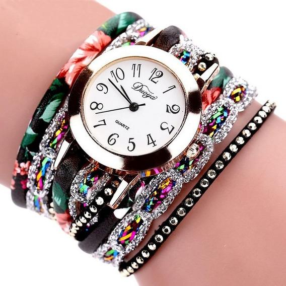Relógio Bracelete Feminino Couro Strass Brilho Vintage