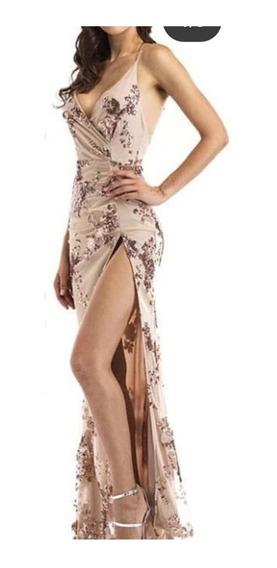 Vestido De Fiesta Largo Color Nude