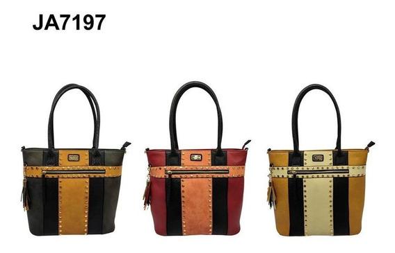 Cartera Basilea Shopper Combinada Con Tachas- Ja7197