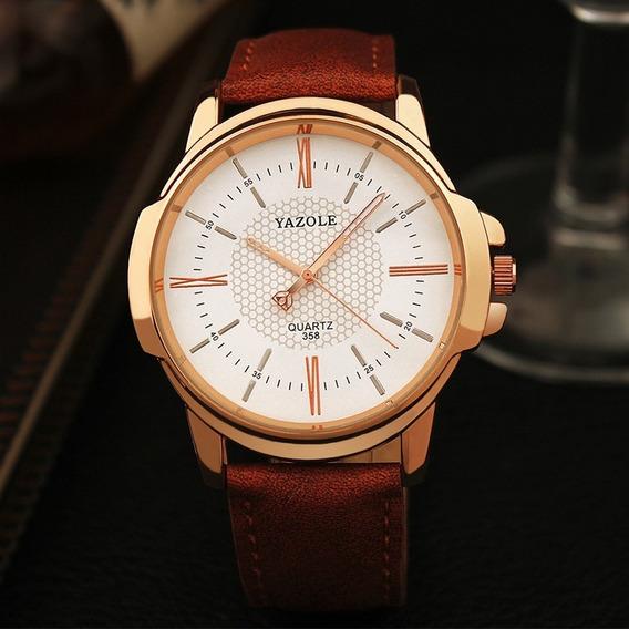 Relógio Masculino Yazole Couro Original Vários Modelos Top