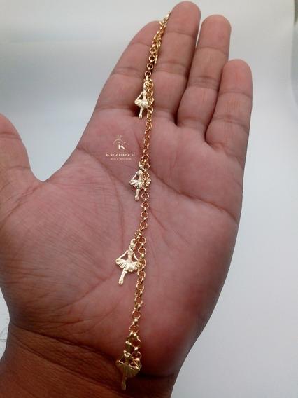 Pulseira Feminina Banhada Ouro 18k Bailarina G1619 98