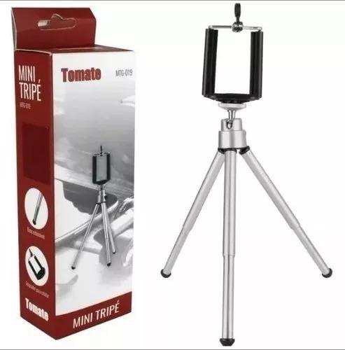 Mini Tripé Universal Para Celular Câmera Com Suporte Tomate