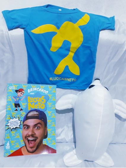 Combo Os Aventureiros Luccas Neto! Livro +foca Ice +camiseta