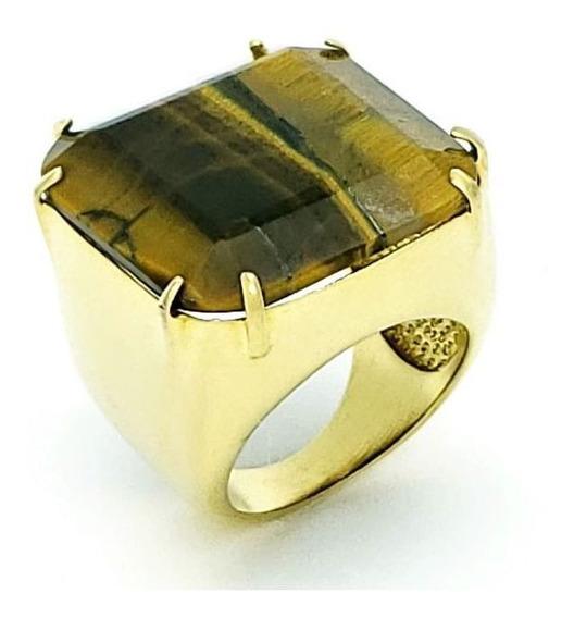 Anel Pedra Lapidação Quadrada Banho De Ouro 18k 1056