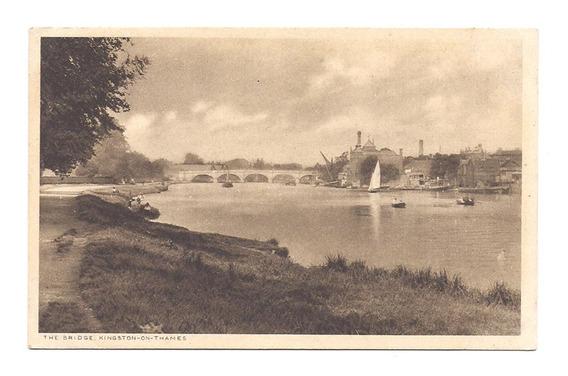 Antigua Postal Puente Kingston Thames Inglaterra Tamesis 529