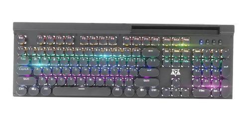 Teclado gamer Adamantiun Cronos AK-5000 QWERTY Blue inglês US de cor preto com luz rainbow