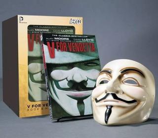 Máscara V De Vingança Original Deluxe + Hq Original Dc Comic