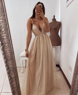 Vestido De Egresada Dorado Talle S