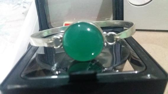 Brazalete Plata 925 Piedra Onix Verde
