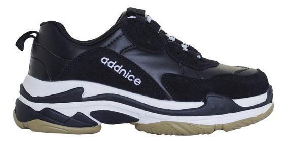 Zapatillas Addnice Moda Urban Misfits Cordon Mujer Ng/ng