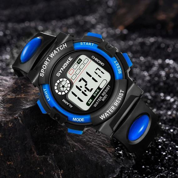 Reloj Deportivo Hombre Synoke Digital Cronómetro Azul Negro