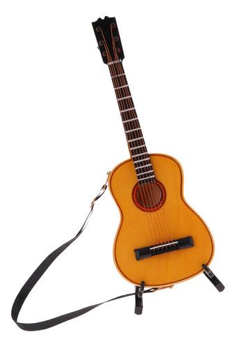 Imagen 1 de 11 de Guitarra Eléctrica De Madera De 1/6 De Escala Con Soporte