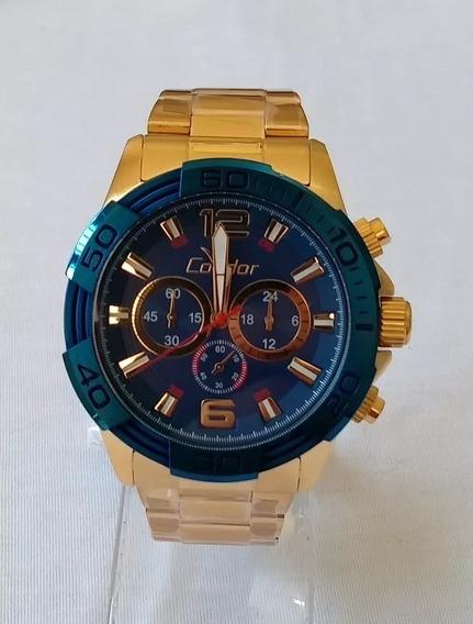 Relógio Masculino Dourado Grande Condor !