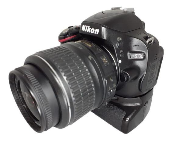 Câmera Nikon D5100 Seminova + Lente + Grip + 2 Baterias