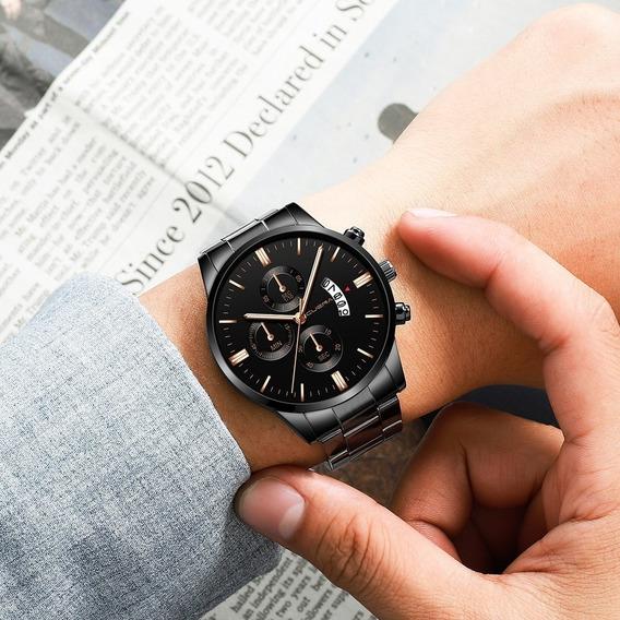 Relógio Luxo Masculino Cuena Preto Dourado Homem