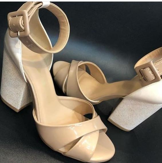 Sandalia Salto Grosso Alto Confortavel 10cm Linho 2020
