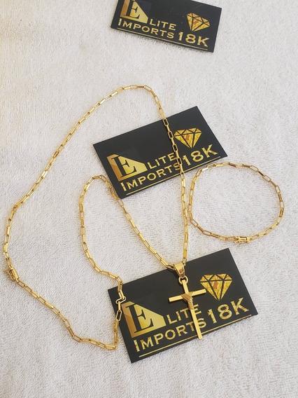 Cordão 4mm Pulseira Pingente Tijolinho Banhado Ouro 18k Luxo