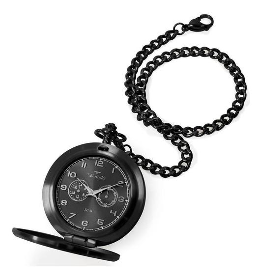 Relógio De Bolso Masculino Technos Vd77ab/4p 51mm Aço Preto