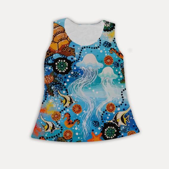 Regata Feminina Oceano Animais Fundo Mar Cor Tumblr Estampa