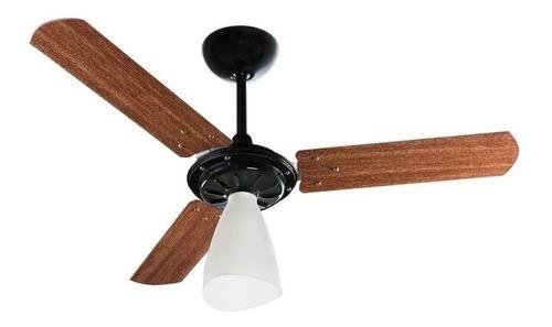 Ventilador de teto Ventisol Wind Light preto com 3 pás cor mogno de madeira, 96cm de diâmetro 220V