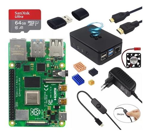 Imagem 1 de 5 de Kit Raspberry Pi4 4gb De Ram C/ Case+cartão 64gb +hdmi+fonte