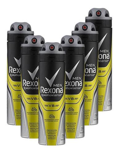 Kit 6 Desodorantes Rexona Men Antitranspirante V8 150ml