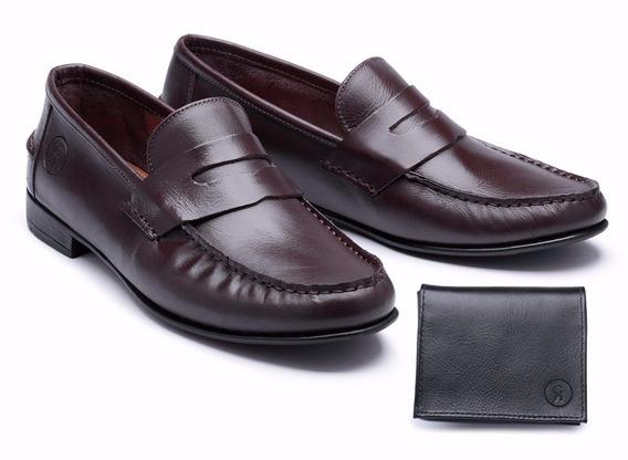 Sapatenis Masculino Sapato Nobre+carteira Couro Frete Gratis