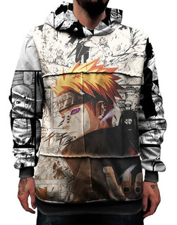 Blusa Moletom Capuz Upcycling Naruto Shippuden Anime Pain Hq